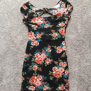 dELiA*s black floral bodycon dress